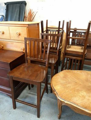 4 Counter Height Solid Wood Chairs! Price is for all 4 will not separate for Sale in Joliet, IL