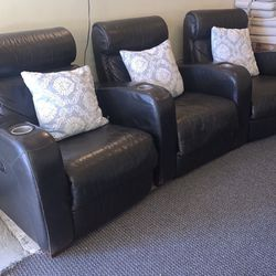 Black Real Leather Reclining Sofa Chairs for Sale in Oakland,  CA