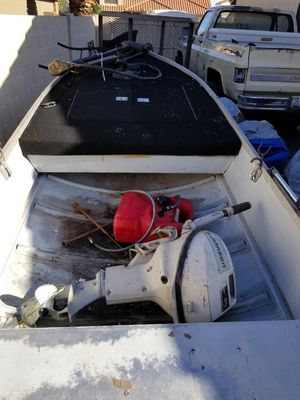 Blue fun aluminum boat and trolling motor for Sale in Chandler, AZ