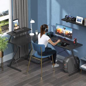 """Coleshome Reversible L Shaped Desk 60.8"""" Home Office Desk with Round Corner Computer Desk with Large Monitor Stand, PC Table Workstation, Black for Sale in Lemont, IL"""