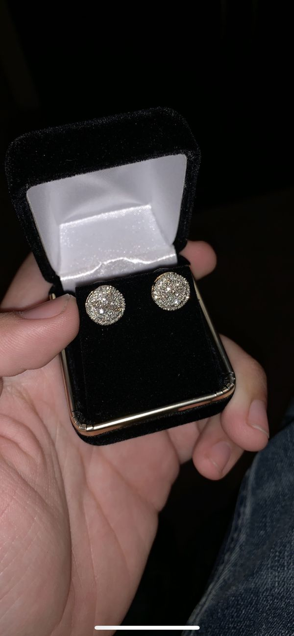 Real 14K Gold And 1 Carat Diamond Earrings