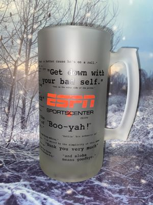 """Rare Espn Sports Center Collectible Frosted beer stein Mug Quotes Espn Glass Beer mug. About 7"""" tall holds 24 OZ for Sale in Lakewood, CA"""