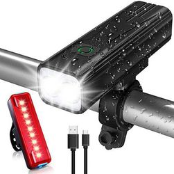 Bike Lights Set, 800 Lumens USB Rechargeable Bicycle LED Front Light & Back Tail Light, 5 Adjustable Lightness & Flashlight with Waterproof IPX5 & Eas for Sale in Pomona,  CA