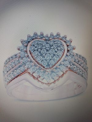 Set 2 Piece Heart-Shaped 925 Sterling Silver in 18 K Rose Gold Filled White Sapphire Engagement Wedding Ring, Size 6. for Sale in Dallas, TX