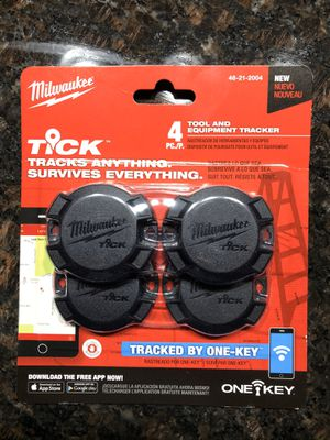 Brand new set of 4 Milwaukee ticks tracking system for packout boxes and saws ladders lawnmowers snowblowers etc.. for Sale in Riverside, IL