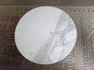 Japanese White Marble Coffee Table with Black Wooden Frame for Sale in Berkeley, CA