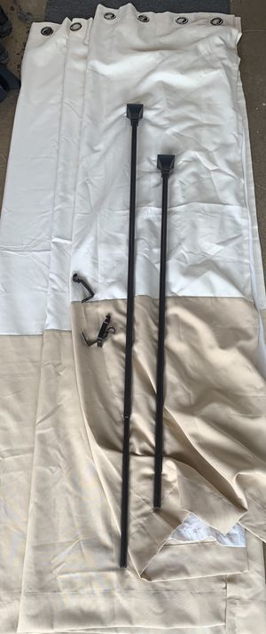 3 curtain panels and rod and mounting brackets for Sale in Garden Grove, CA