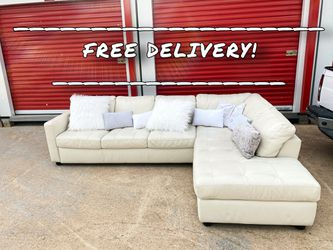 🚚FREE DELIVERY | White Leather Sectional 🛋 | Luxury Couch for Sale in Spring,  TX