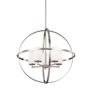 Brand new in box Sea Gull Lighting Alturas 27.25 in. W. 5-Light Brushed Nickel Single Tier Chandelier with Satin Etched Glass Shades for Sale in Dublin, OH