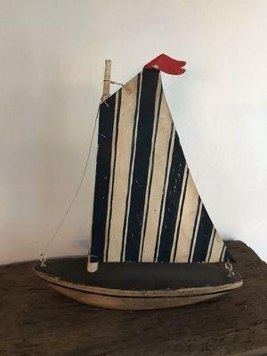 Hand Carved Blue Stripe Sailboat for Sale in Allison Park, PA