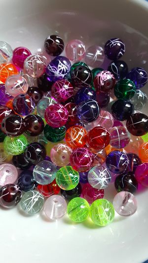 100 pc Mixed Scribble Glass Beads 8mm for Sale in Ridgeville, SC