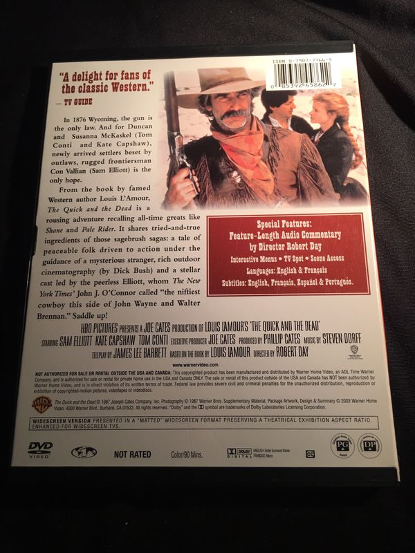 1987 Louis L' Amour's The Quick and the Dead Sam Elliott Kate Capshaw Tom Canti Wide Screen Dolby Digital DVD GREAT CONDITION NO SCRATCHES