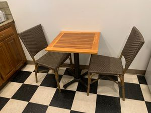 Cafe-like wood top kitchen table and 2 chairs for Sale in Los Angeles, CA
