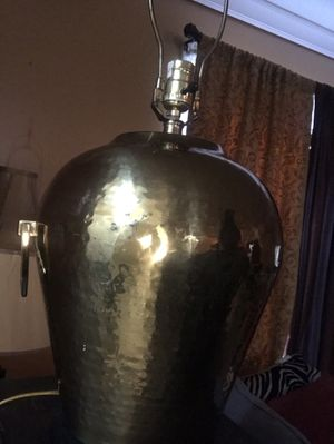 Hammered Antique Brass Lamp for Sale in New Haven, CT