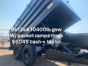 New Dump Trailer 8x12x4 10400lb gvw/ packet ramps $6045 + tax lic not finance for Sale in Whittier, CA