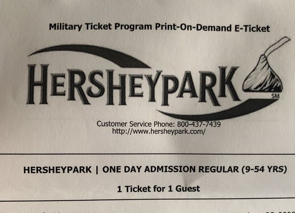 3 tickets for Hershey Park