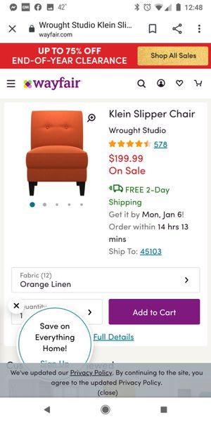 Brand New In Box!! BURNT ORANGE, Klein ONE ARM Slipper Chair, by Wrought Studio. Similar to stock photo. Exact Color. Similar style. for Sale in Batavia, OH