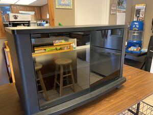 Black tv stand glass front for Sale in Las Vegas, NV
