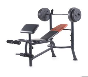 Weider Workout Bench with Barbell and 80 Pounds of Weight Plates for Sale in Annandale, VA