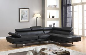 Brand New Black Faux Leather Sectional Sofa Couch for Sale in Silver Spring, MD