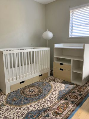 IKEA-Crib (transformable to bed) band Storage drawer + Mattress, Blanket, Sheet as BONUS for Sale in Arlington, TX