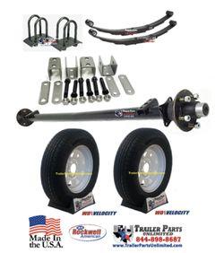"""3.5k Idler Trailer Axle Kit w/ 15"""" 6Ply Trailer Tires and White Spoke Wheels 5 lug for Sale in Huntsville,  TX"""