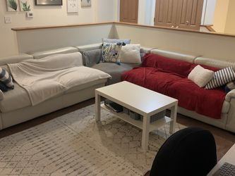 Large L-Shaped Leather Sectional Couch White for Sale in Detroit,  MI