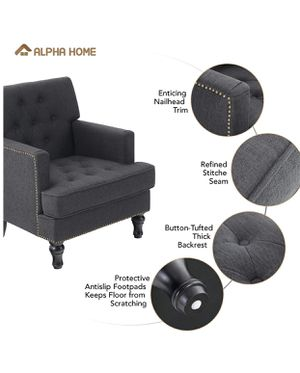Accent Chair Linen Fabric Upholstered Armchair Wingback Button for Sale in Crystal Lake, IL
