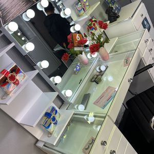 White 15- Drawer Vanity Set With Bluetooth Vanity Mirror And Two Shelves Included for Sale in Downey, CA