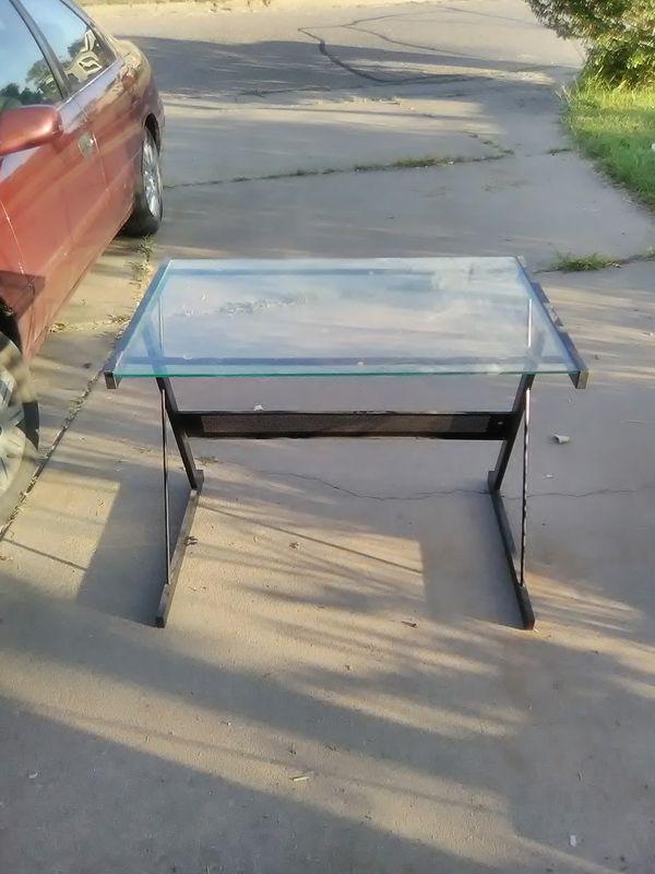 Large Metal & Glass Computer Desk