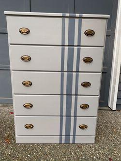 Recently refinished grey dresser with stripe for Sale in Mukilteo,  WA