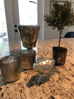 Mercury Glass Vase, Bird, Votives, Bowl for Sale in Lake Mary, FL