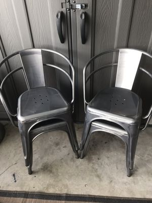 Grey Carlisle Metal Chairs - set of 4 for Sale in Long Beach, CA
