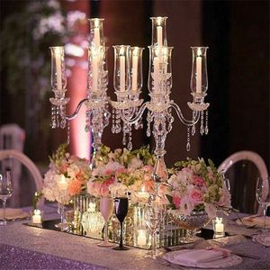 "32"" Tall 5 Arm PREMIUM Hurricane Taper Crystal Glass Candle Holders for Sale in Pasadena, TX"