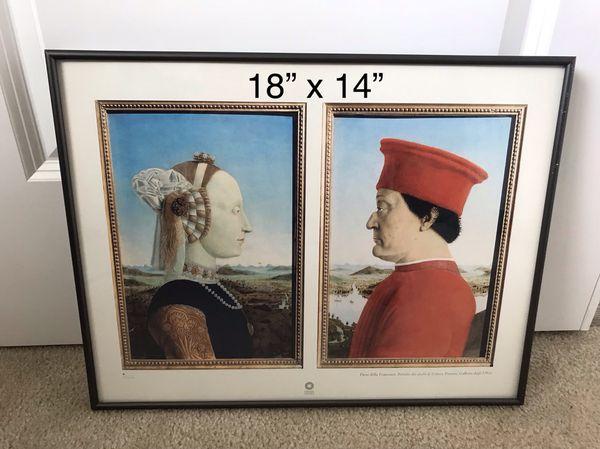 Double portrait of the Dukes & Duchess of Urbino framed poster/print