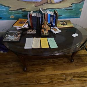 Wooden Table With Glass Top for Sale in Detroit, MI