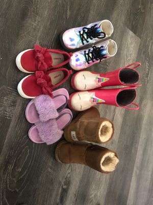 Ugg boots/rain boots/fur slides/old navy shoes/shirts for Sale in Wilmington, CA