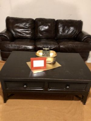 Brown Leather sleeper sofa & coffee Table for Sale in Spring, TX