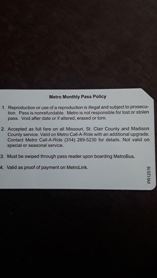 Month long metro pass