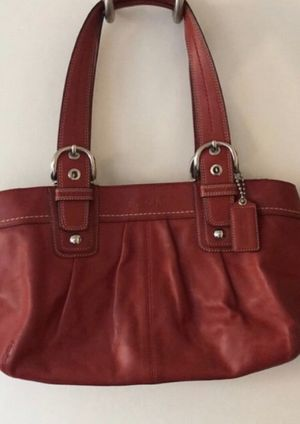 Authentic Coach Pleated Leather SOHO Tote Style F13732 Red ROJO for Sale in Humble, TX