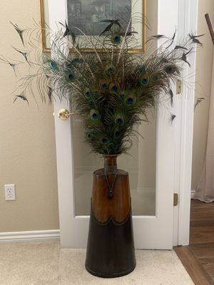 Metal bronze vase with peacock feathers for Sale in Colorado Springs, CO