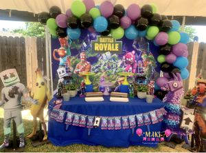 Fortnite Birthday Party Decorations Set up Balloons for Sale in Menifee, CA