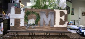 Wood HOME sign, shelve and hooks wall decor for Sale in Austin, TX