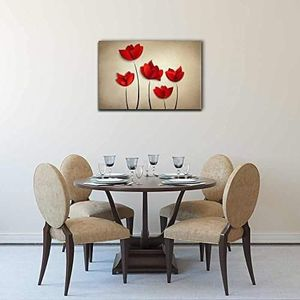 ((FREE SHIPPING)) Canvas wall art - abstract red flowers on light brown background modern home decor Painting like print for Sale in New York, NY