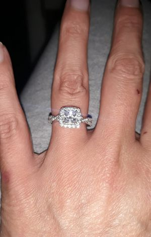 Sterling silver simulated diamond wedding ring set for Sale in Tarpon Springs, FL