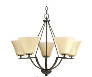 Progress Lighting Bravo Collection 5-Light Antique Bronze Chandelier with Umber Linen Glass Shade for Sale in Dallas,  TX