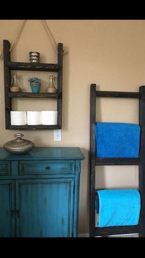 Rustic ladder shelf & blanket / towel ladder set for Sale in Vista, CA