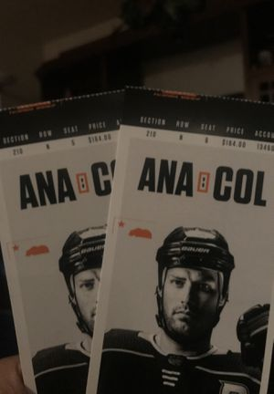 Two Anaheim vs Colorado tickets for Feb 21 for Sale in Bell Gardens, CA