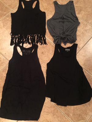 Bundle black gray tank top t shirt fringe medium large for Sale in Rancho Cucamonga, CA