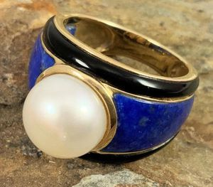 14kt Mabe Pearl, Lapis & Onyx Ring for Sale in Roswell, GA